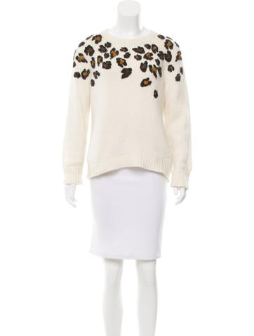 Sandro Textured Leopard Pattern Sweater None