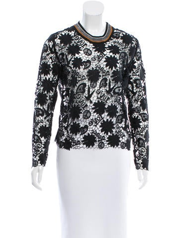Sandro Guipure Lace Rib Knit-Trimmed Top None