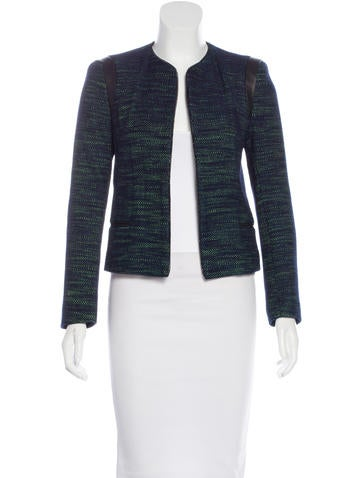 Sandro Leather-Trimmed Structured Jacket
