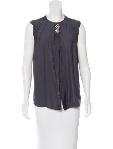 Sandro Embellished Button-Up Top w/ Tags None