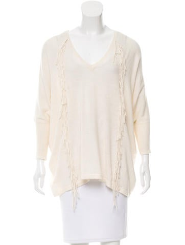 Sandro Fringe-Accented Dolman Sweater None