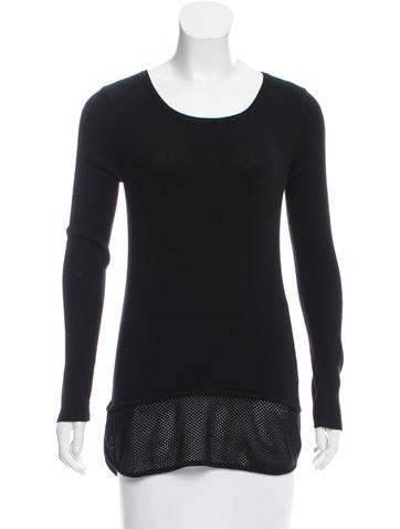 Sandro Rib Knit Long Sleeve Top None