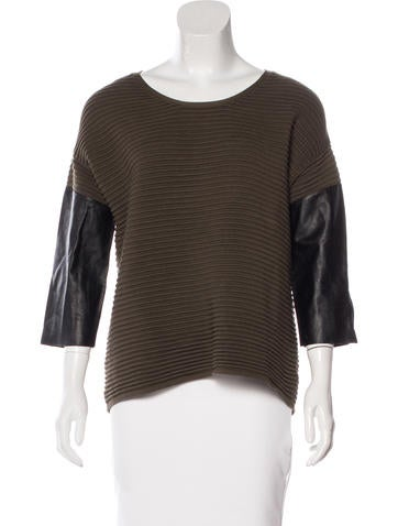 Sandro Leather-Paneled Rib Knit Top None