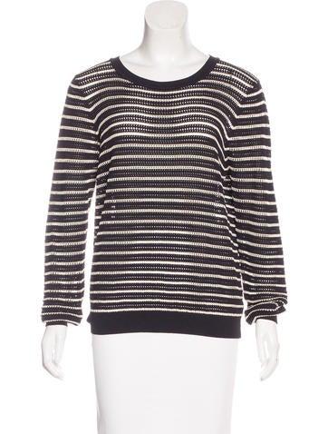 Sandro Striped Open Knit Sweater None
