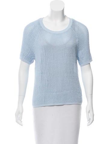 Sandro Open Knit Short Sleeve Sweater None