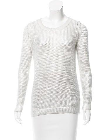 Sandro Metallic Open Knit Sweater None