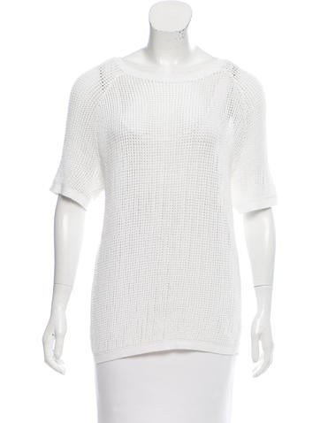 Sandro Short Sleeve Open Knit Top None
