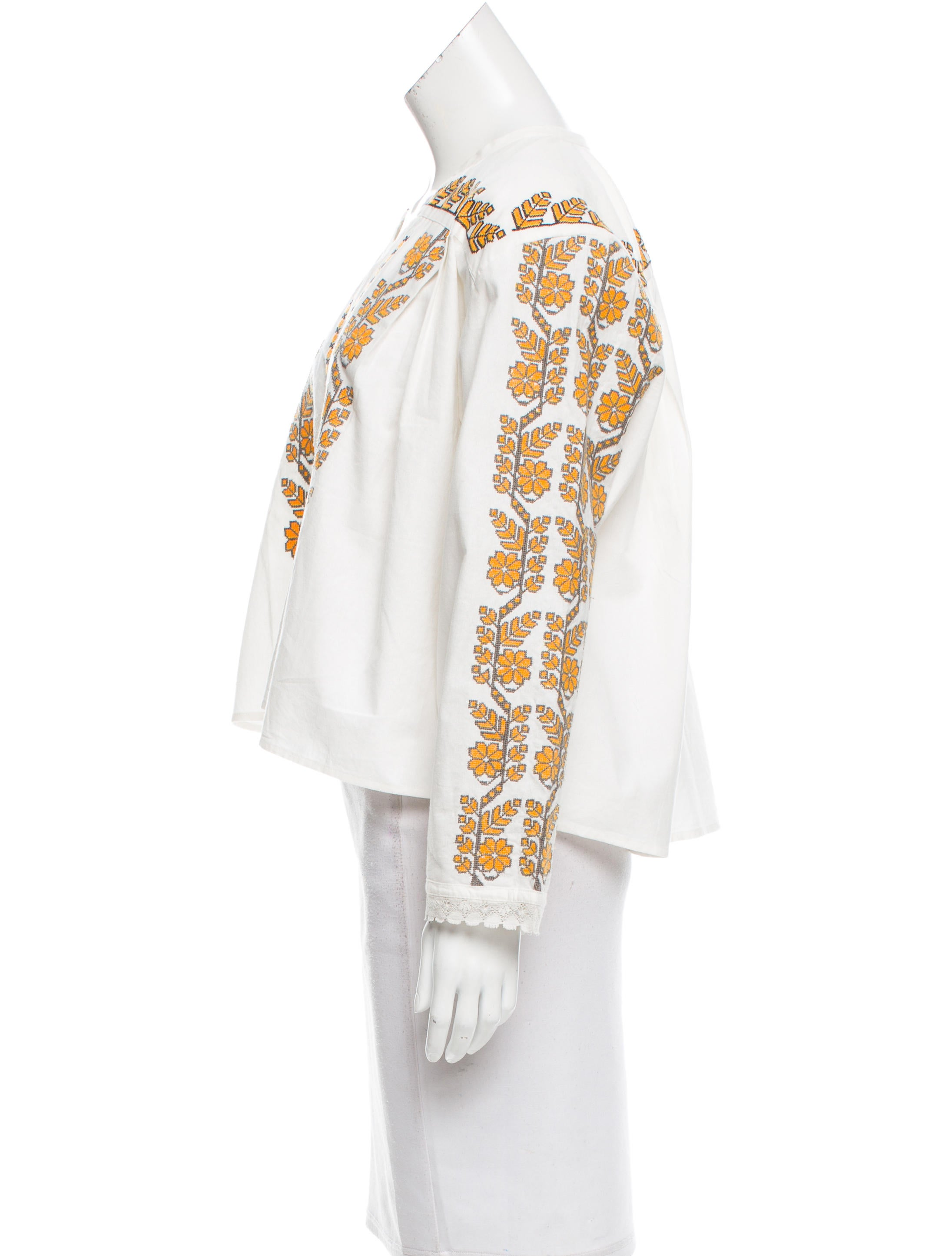 Sandro embroidered long sleeve top w tags clothing