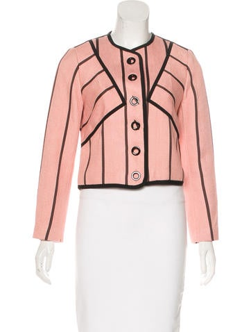 Sandro Linen-Blend Embellished Jacket w/ Tags None