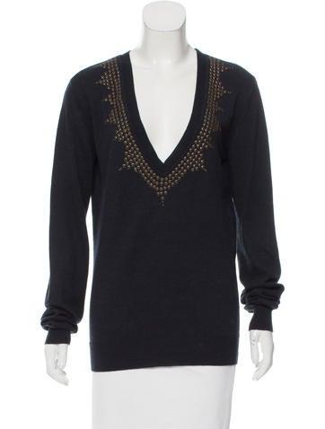 Sandro Embellished Rib Knit Sweater None