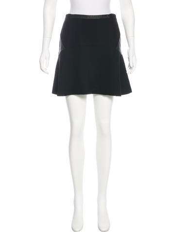 Sandro Leather-Accented Mini Skirt None