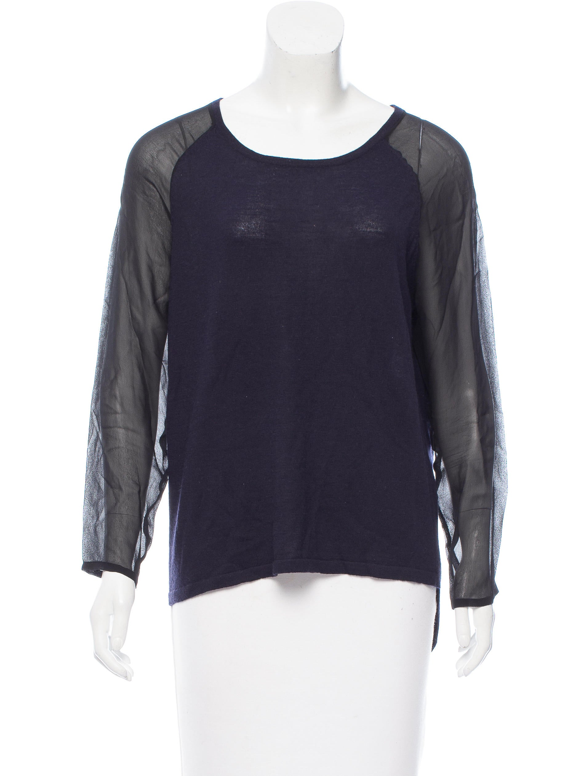 Sandro wool silk knit top clothing ws227775 the for Best wool shirt jackets