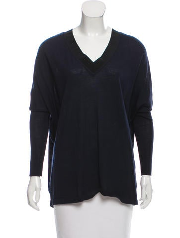 Sandro Wool Contrast-Trimmed Sweater None