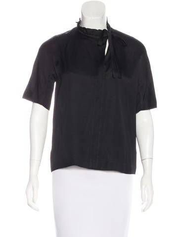 Sandro Ruffle-Trimmed Knit Top None