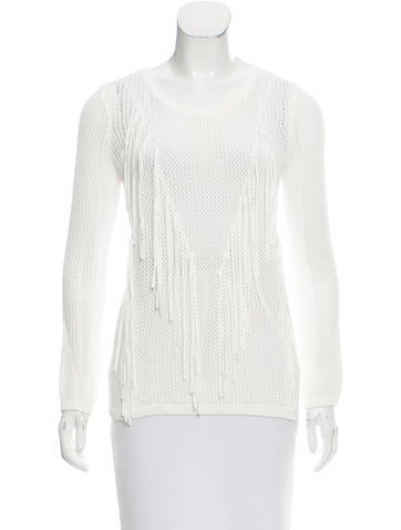 Sandro Fringe-Accented Open Knit Sweater None