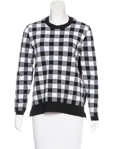 Sandro Checkered Long Sleeve Top None