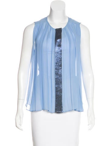 Sandro Silk Pleated Top None
