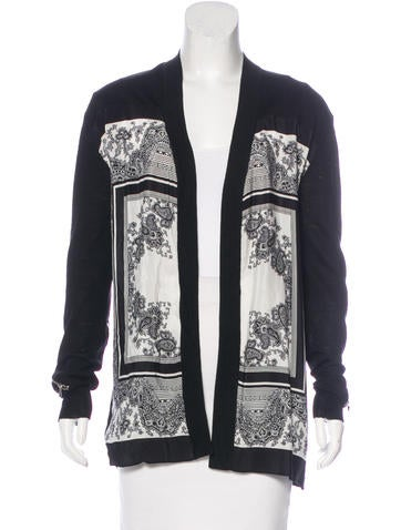 Sandro Silk-Accented Wool Cardigan None