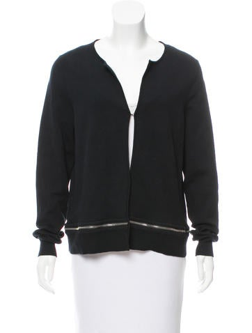 Sandro Zip-Accented Knit Cardigan None