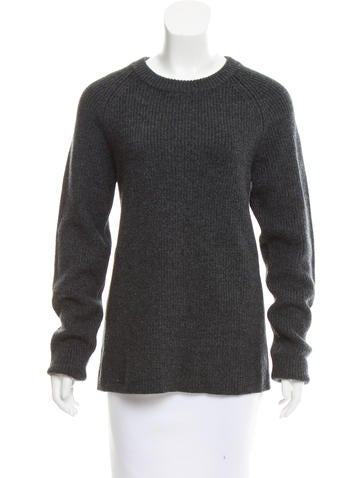Sandro Rib Knit Crew Neck Sweater None