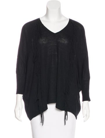 Sandro Fringe-Accented Knit Sweater None