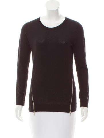 Sandro Zip-Accented Wool Top None