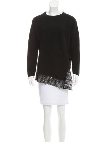 Sandro Lace-Accented Sweater None