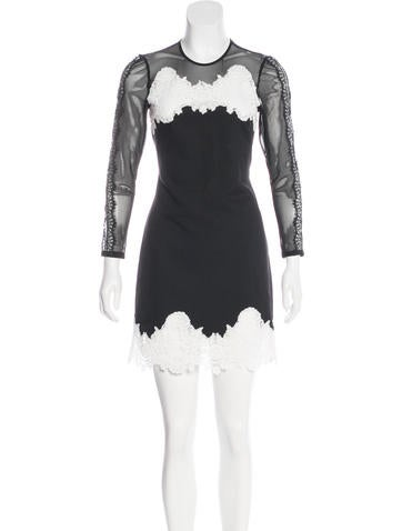 Sandro Lace-Accented Mini Dress None