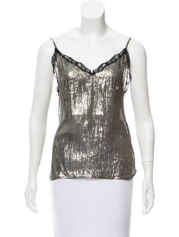 Sandro Lace-Trimmed Sleeveless Top None