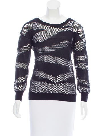 Sandro Open Knit Scoop Neck Sweater None