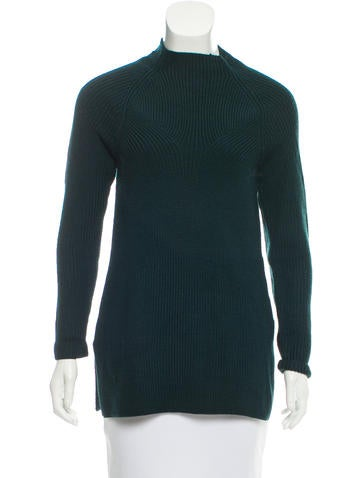 Sandro Rib Knit Mock Neck Sweater None