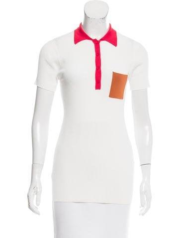 Sandro Short Sleeve Rib Knit Top None