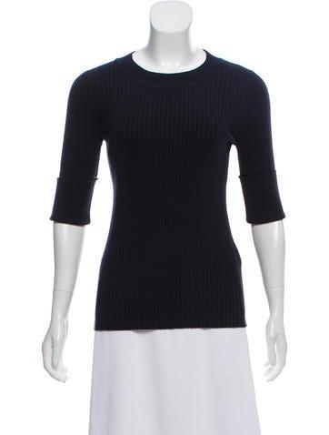 Sandro Rib Knit Short Sleeve Sweater None