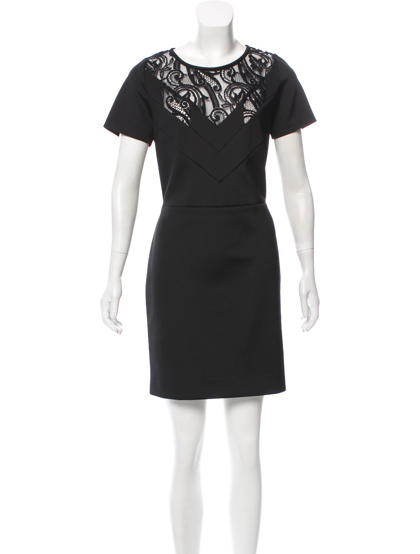 Sandro Lace-Accented Mini Dress Sale Sale Huge Surprise r40XvbJz