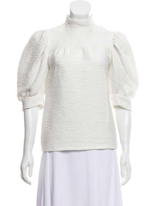 Sandro Textured Puff Sleeve Blouse White