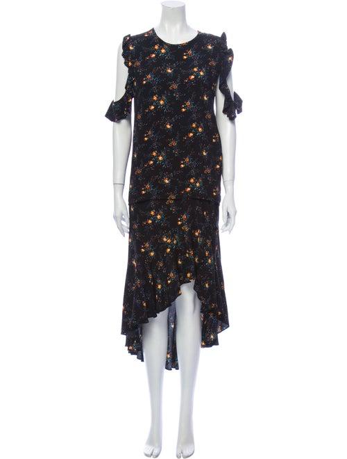 Sandro Floral Print Skirt Set Black