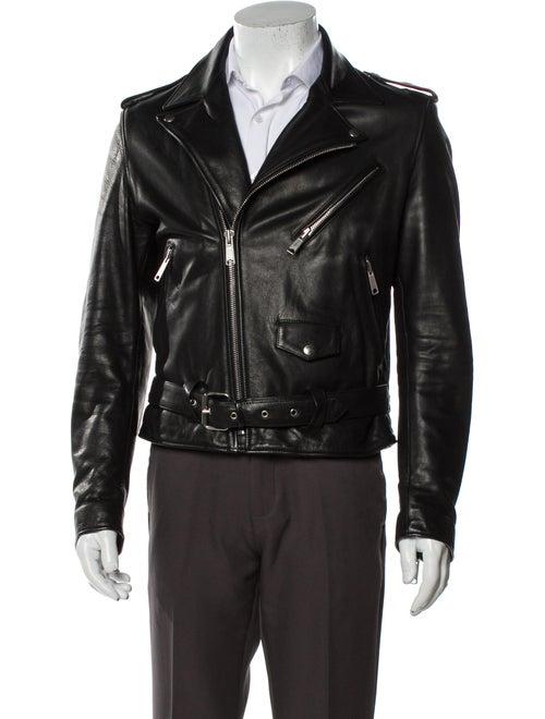 Sandro Calf Leather Moto Jacket Black - image 1