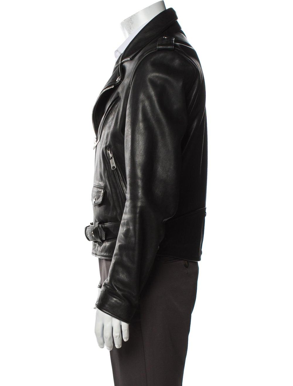 Sandro Calf Leather Moto Jacket Black - image 2