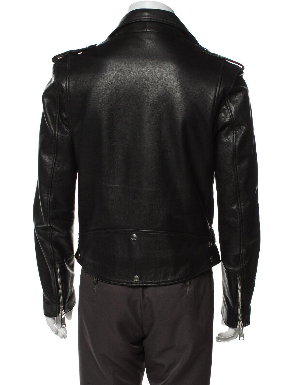 Sandro Calf Leather Moto Jacket Black - image 3