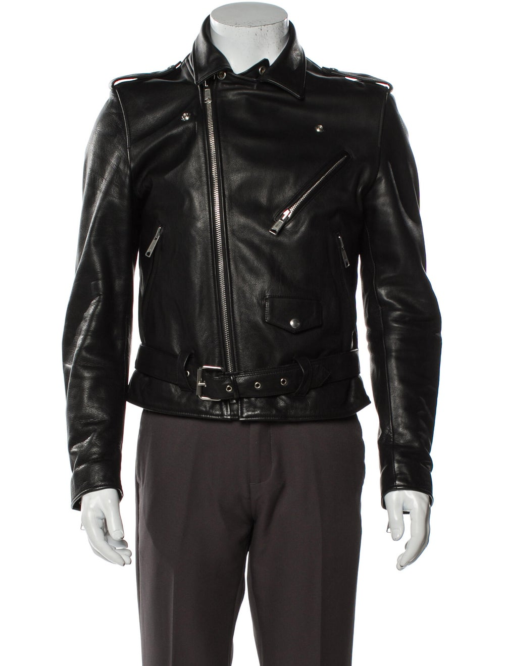 Sandro Calf Leather Moto Jacket Black - image 4
