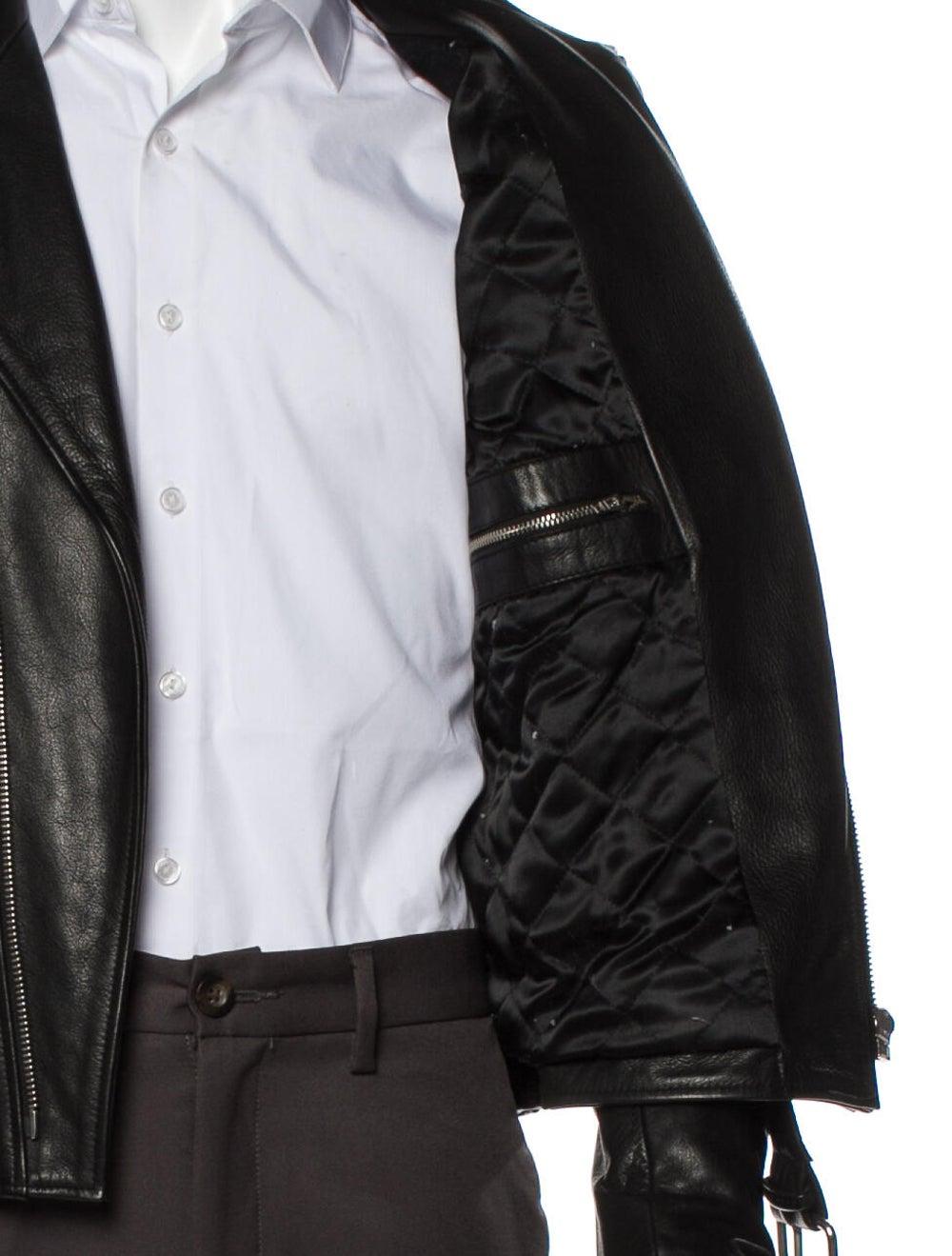 Sandro Calf Leather Moto Jacket Black - image 5
