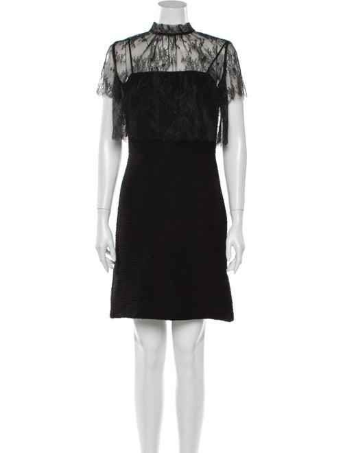 Sandro Lace Pattern Mini Dress Black - image 1