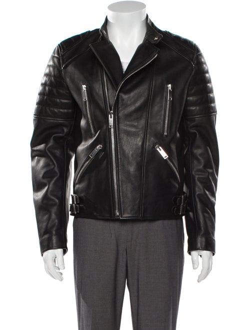 Sandro Leather Moto Jacket Black