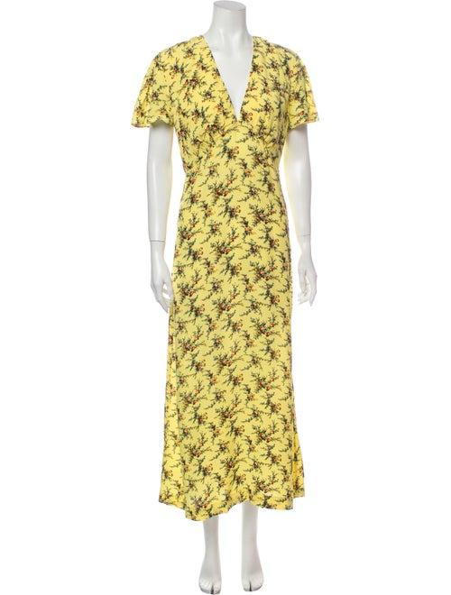 Sandro Floral Print Long Dress Yellow