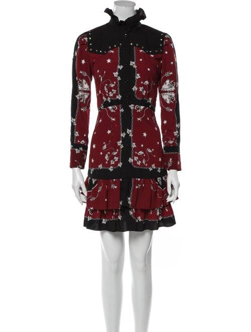 Sandro Printed Mini Dress Red