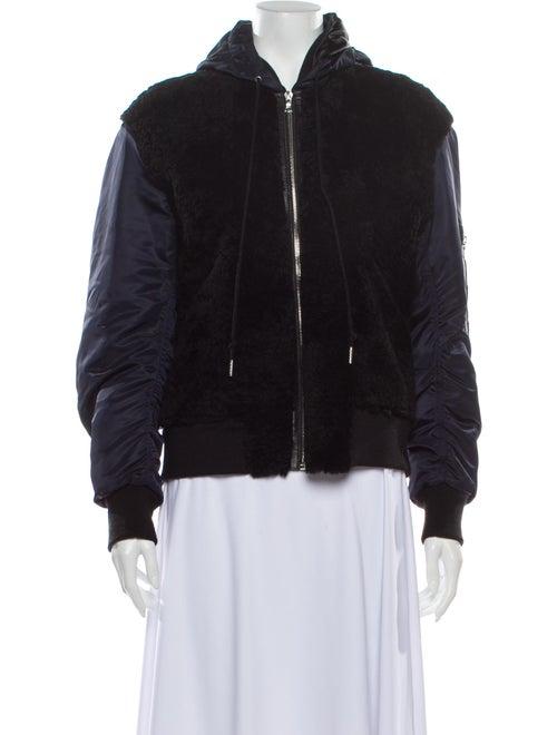 Sandro Leather Bomber Jacket White