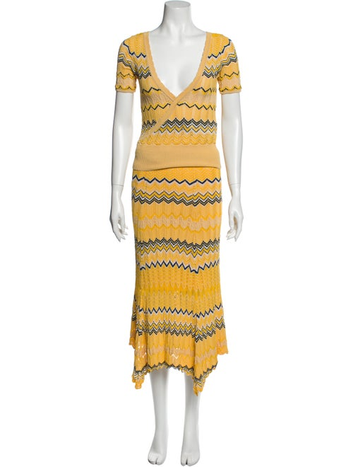 Sandro Striped Skirt Set Yellow