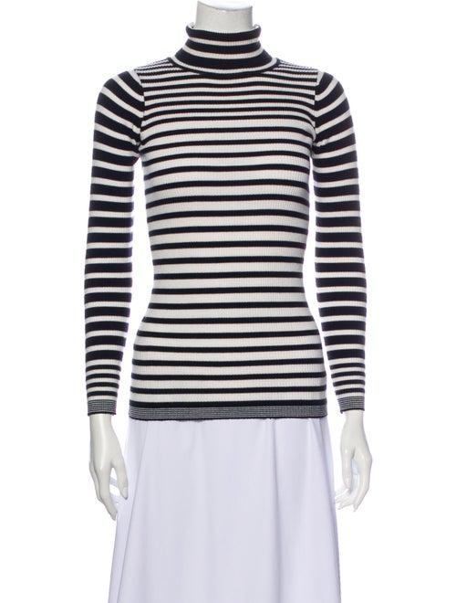 Sandro Striped Turtleneck Sweater Black