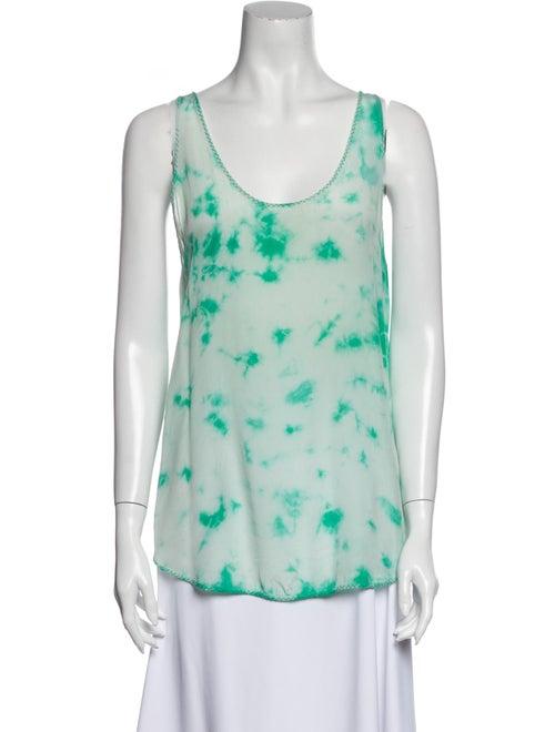 Sandro Silk Tie-Dye Print Top Green
