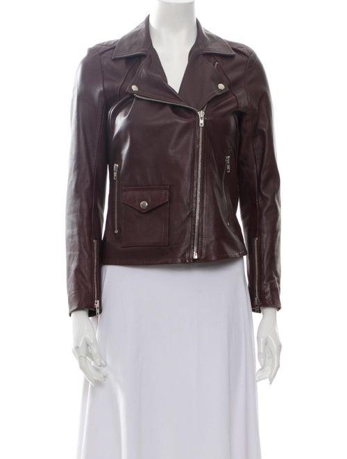Sandro Lamb Leather Biker Jacket